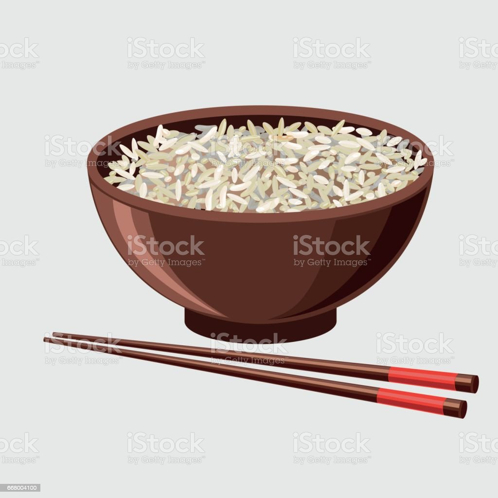 Rice bowl with chopsticks vector art illustration