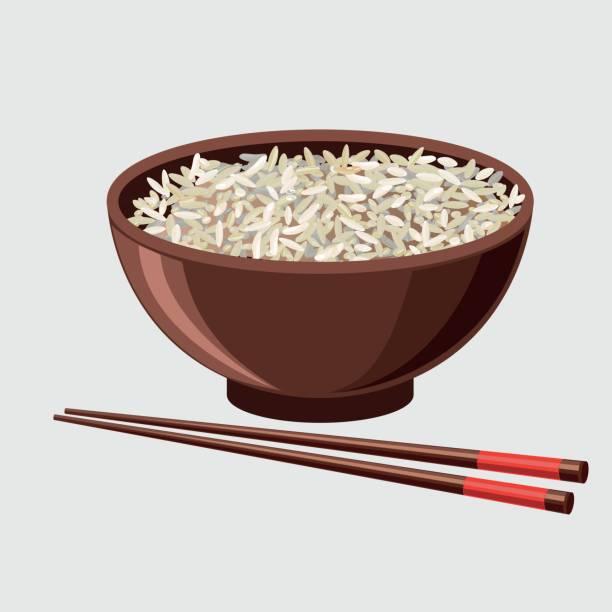 illustrations, cliparts, dessins animés et icônes de bol de riz avec des baguettes chinoises - risotto