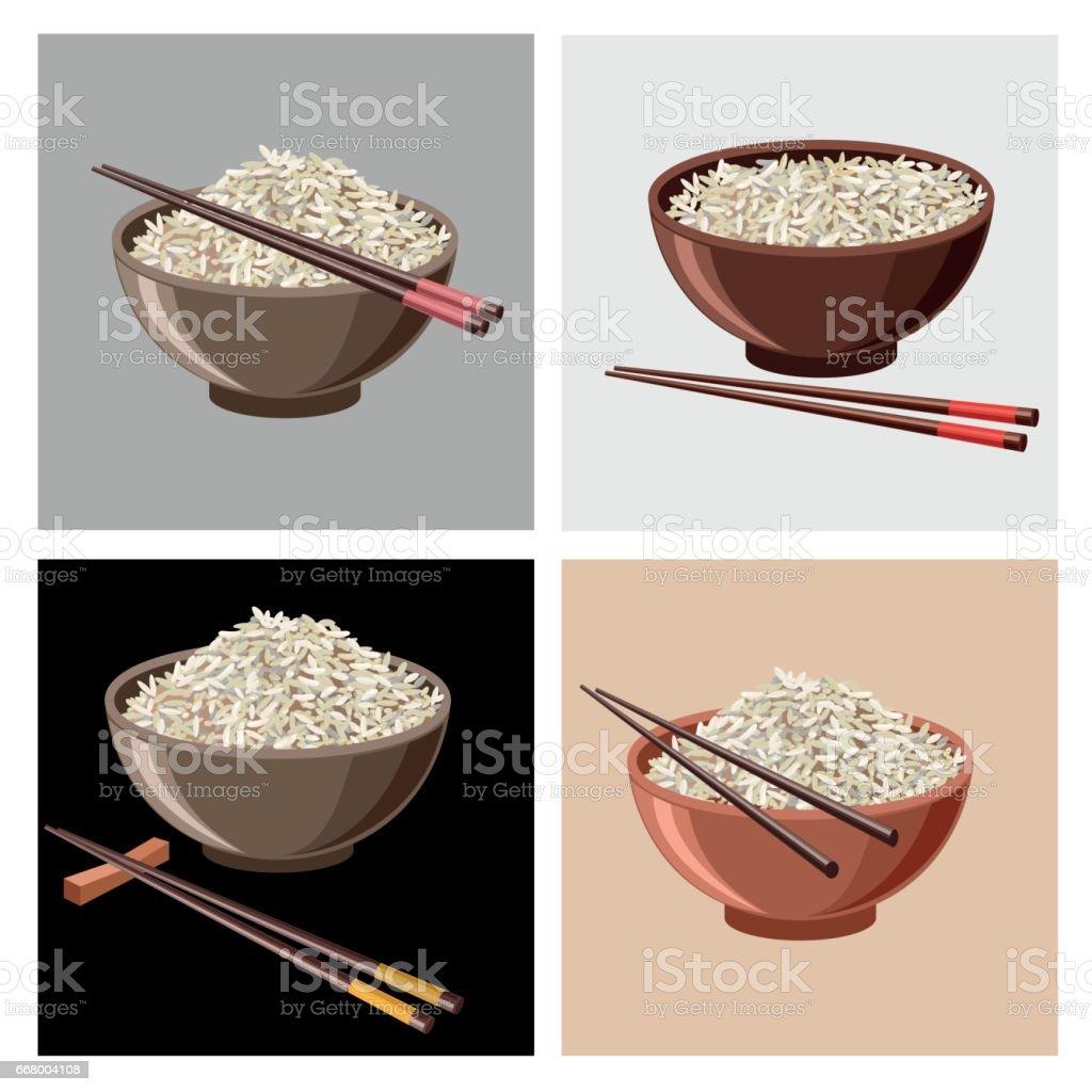 Rice bowls with chopsticks vector art illustration