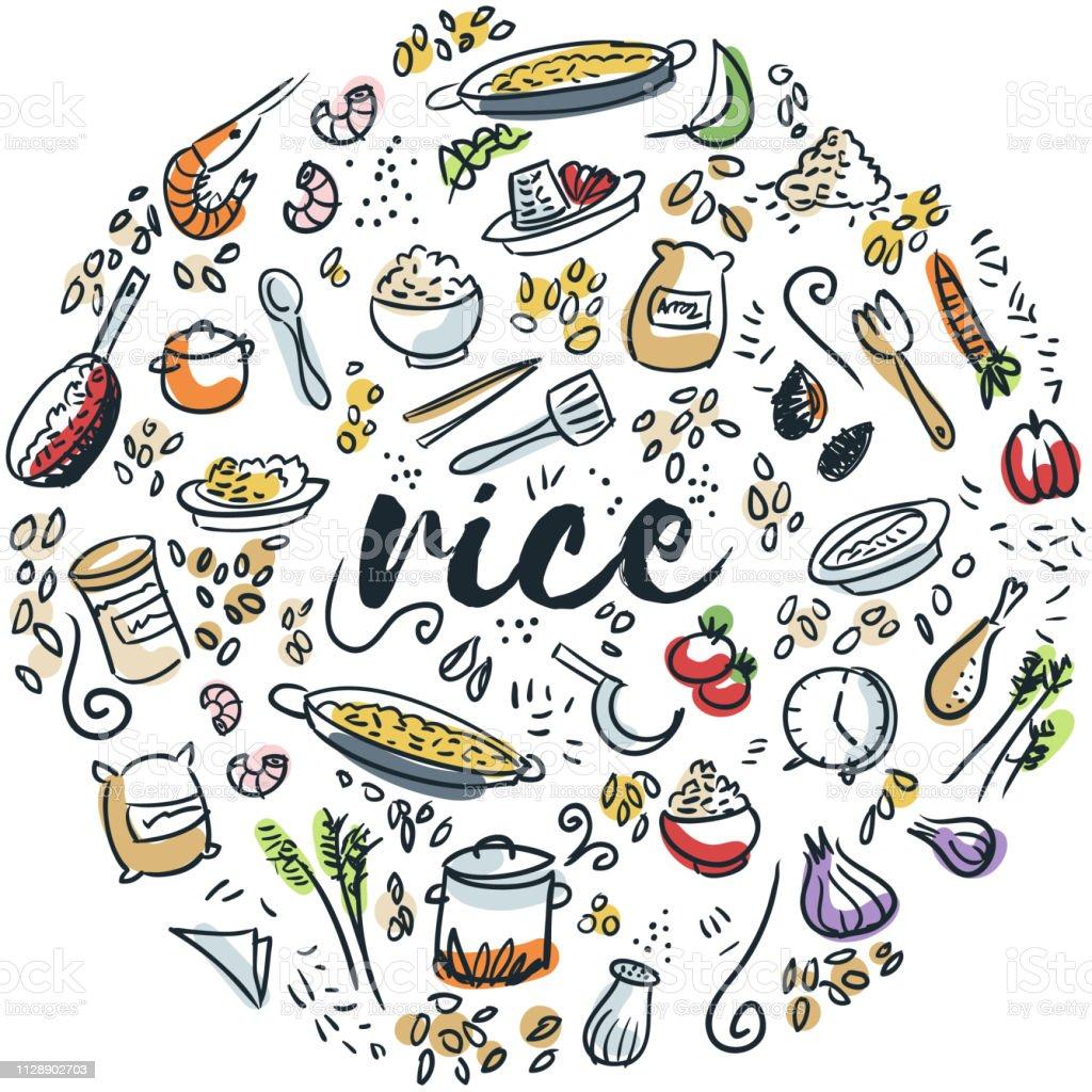 Reis hand gezeichnete design – Vektorgrafik