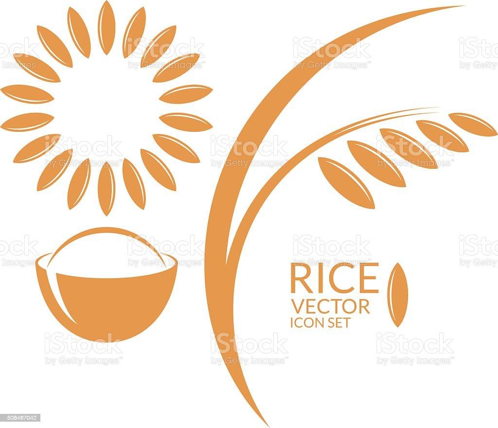 Rice. Icon set vector art illustration