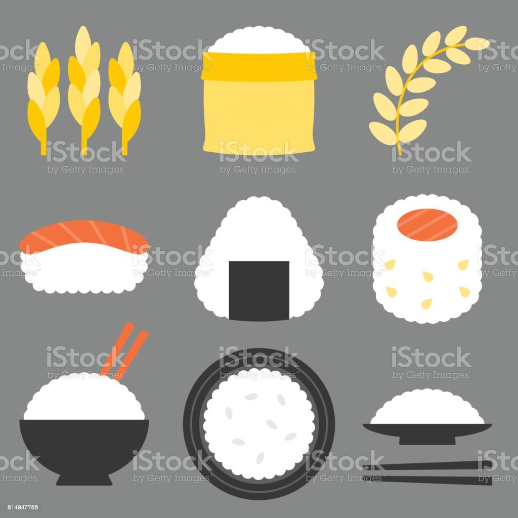rice icon vector, flat design vector art illustration