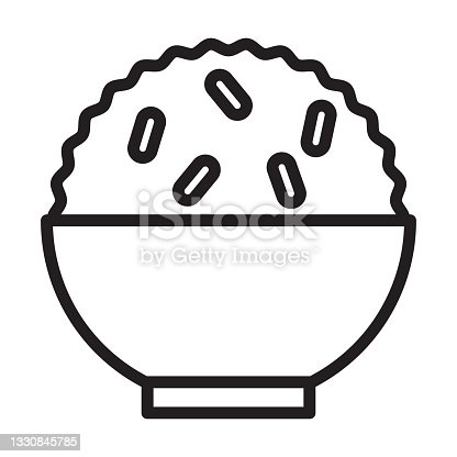 istock Rice in a bowl outline icon vector for graphic design, logo, web site, social media, mobile app, illustration 1330845785