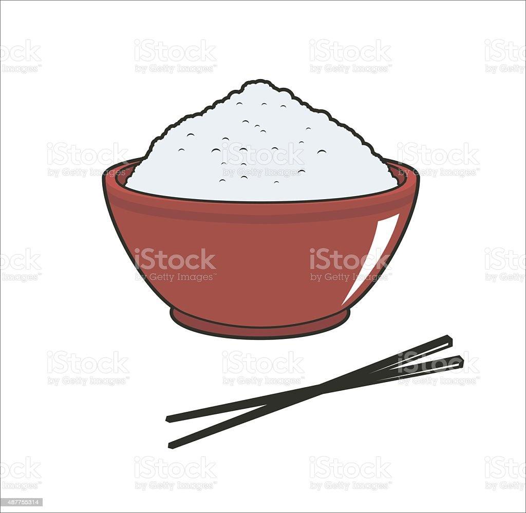 rice in bowl simple illustration vector art illustration