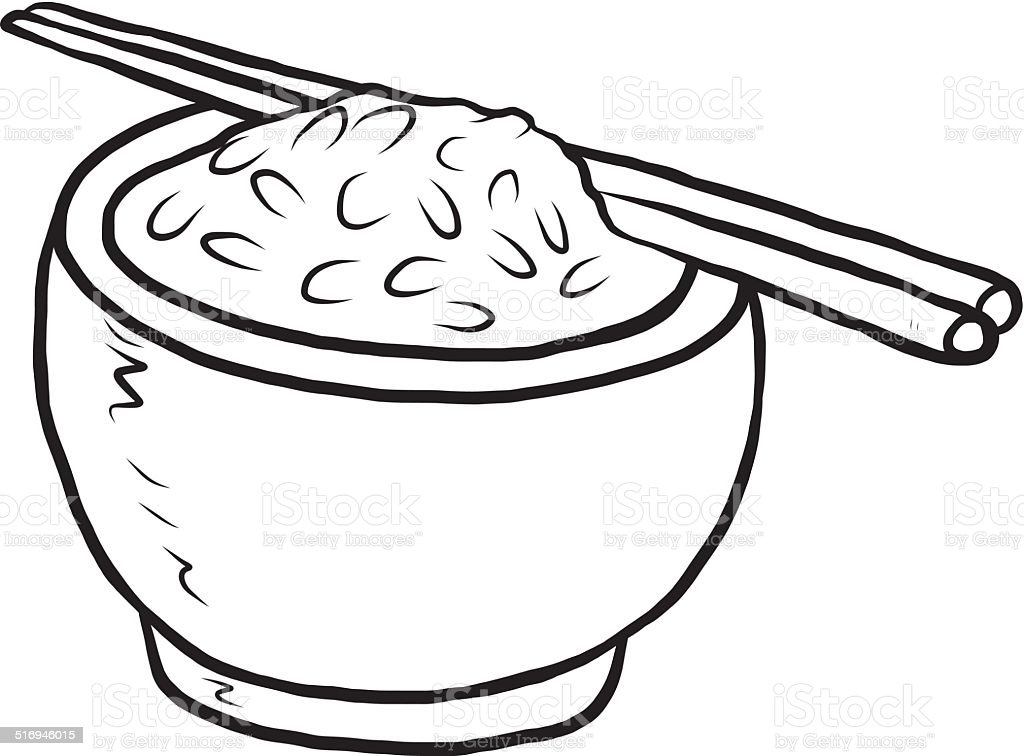 royalty free black and white cartoon bowl of rice clip art vector rh istockphoto com rice clip art images rice clipart png