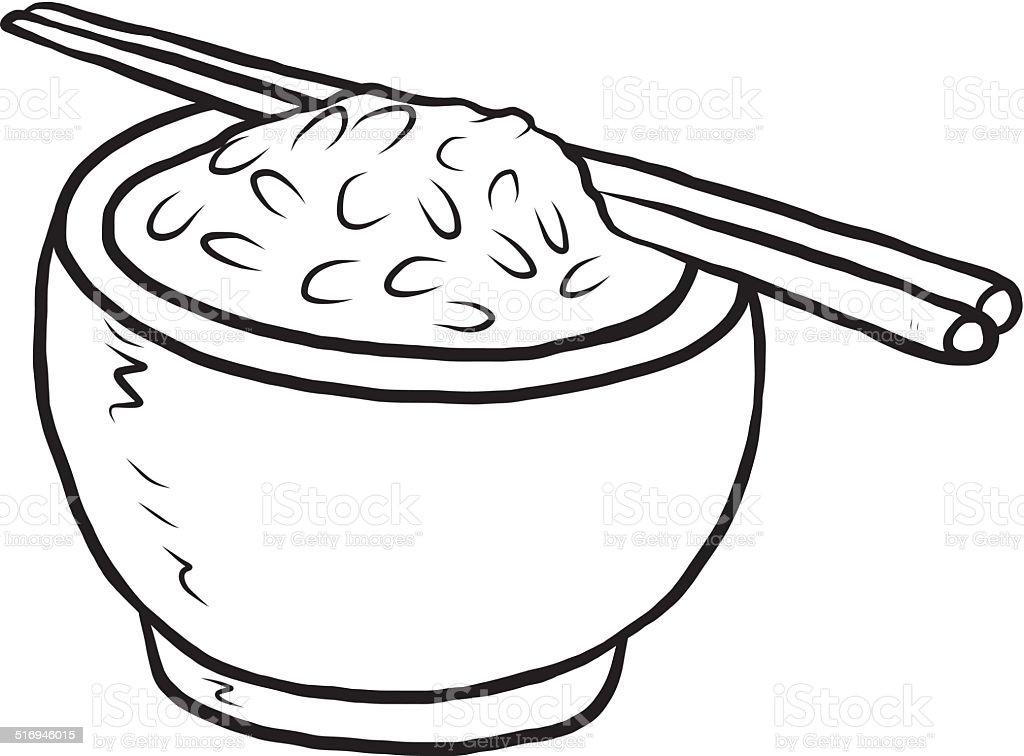 rice in bowl vector art illustration