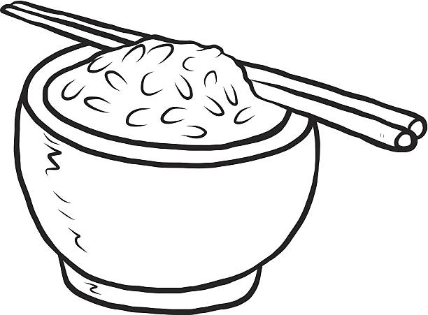 Royalty Free Black And White Cartoon Bowl Of Rice Clip Art
