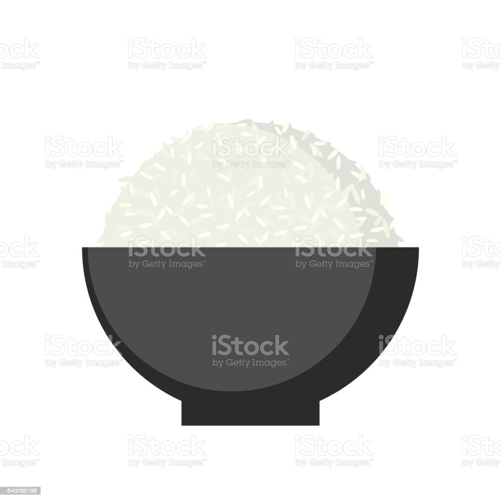 Rice in Bowl, Vector. vector art illustration