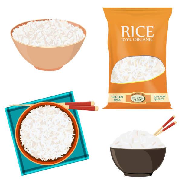 bildbanksillustrationer, clip art samt tecknat material och ikoner med ris pack och skål - ris basmat