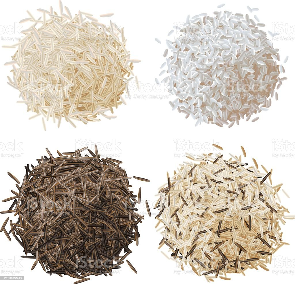 Rice pile set vector illustration vector art illustration