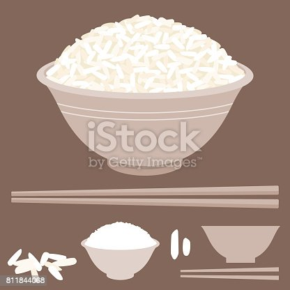 istock Rice vector in bowl with chopsticks 811844068