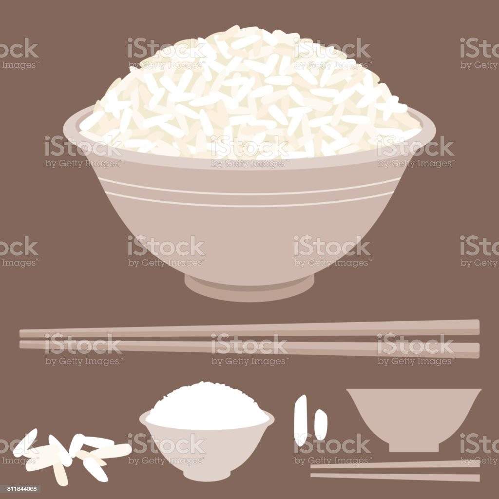 Rice vector in bowl with chopsticks vector art illustration
