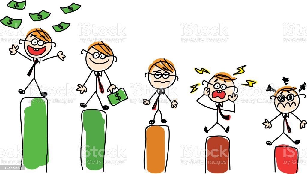 Rich and poor businessmen doodle cartoon illustration royalty-free stock vector art