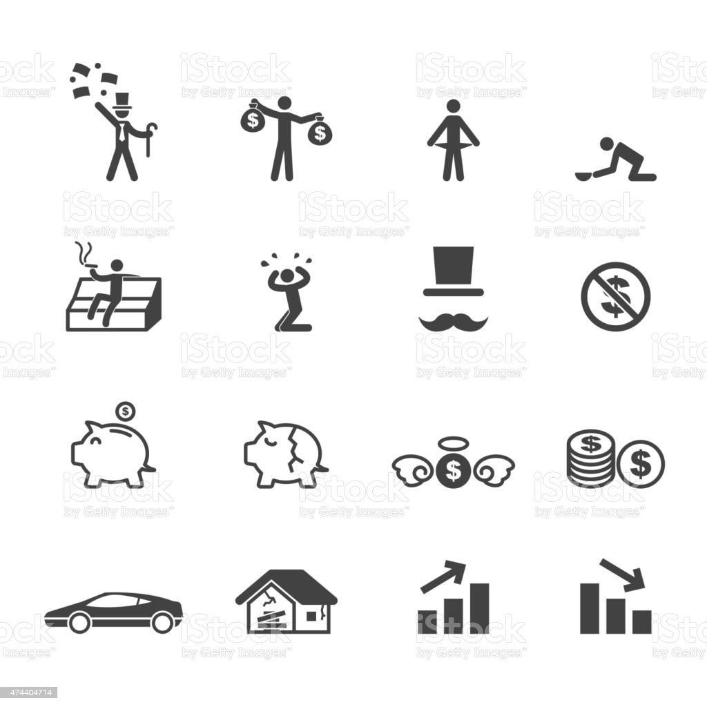 rich and poor icons vector art illustration