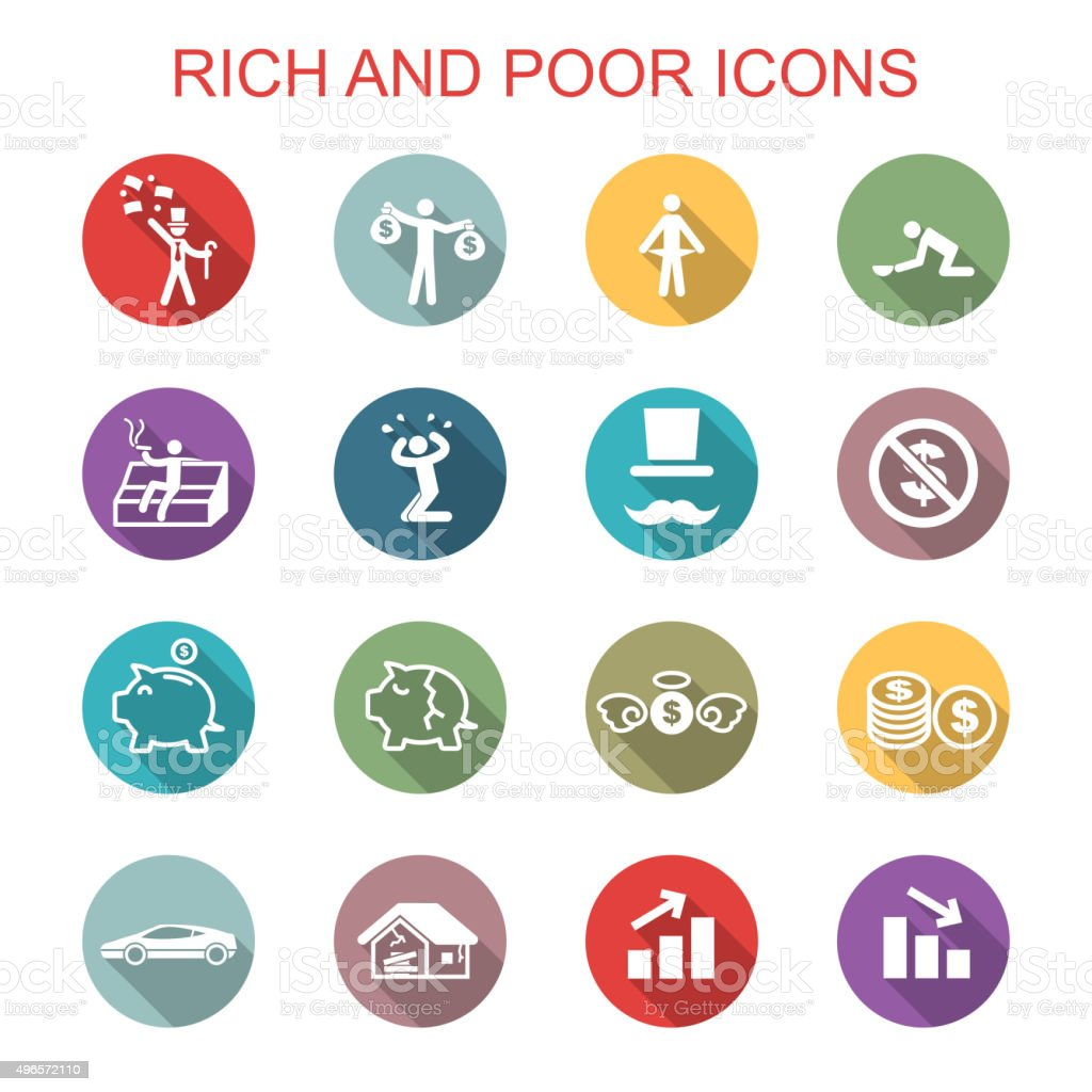 rich and poor long shadow icons vector art illustration