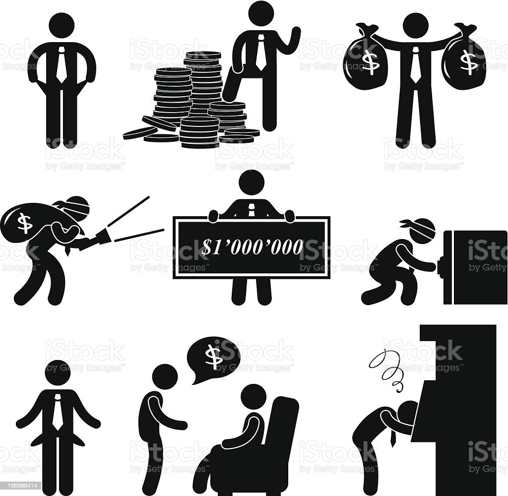Rich and Poor Man Pictogram vector art illustration