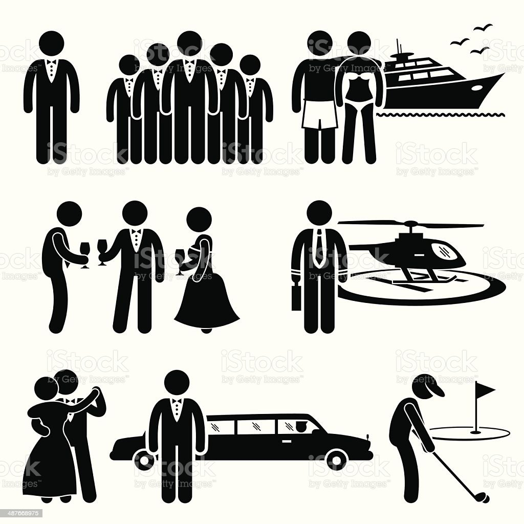 Rich and Wealthy People Cliparts vector art illustration
