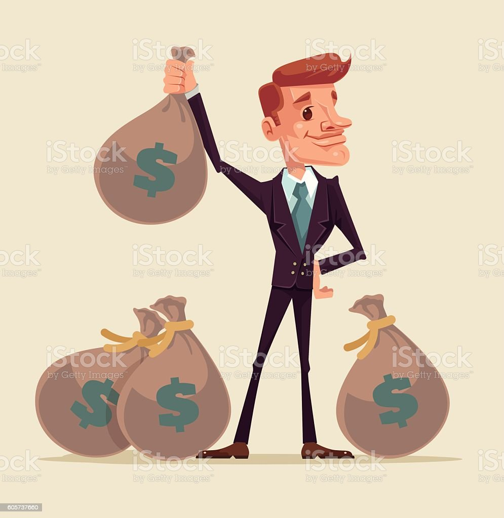 Rich businessman character hold bags full of money vector art illustration