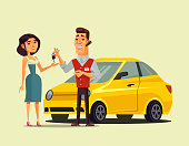 Rich happy smiling purchaser woman character buying rent auto car and seller manager man giving key to her. Transportation automobile sale purchase retail flat cartoon isolated vector illustration