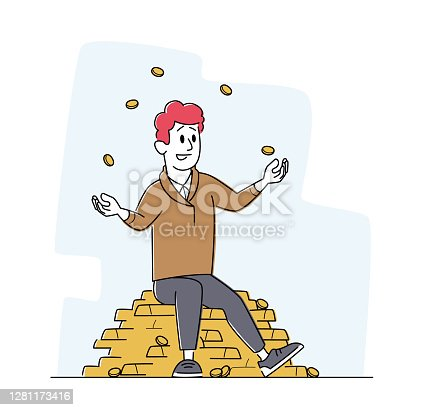 istock Rich Man Juggling with Gold Coins Sitting on Pile of Golden Bars. Successful Businessman, Investor or Lottery Winner 1281173416