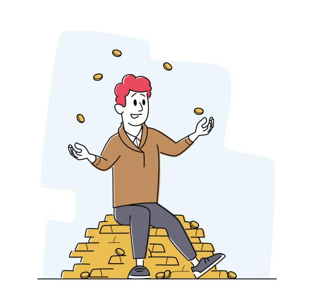 reicher mann jonglieren mit goldmünzen sitzen auf haufen goldener barren. erfolgreicher geschäftsmann, investor oder lotteriegewinner - ein mann allein stock-grafiken, -clipart, -cartoons und -symbole