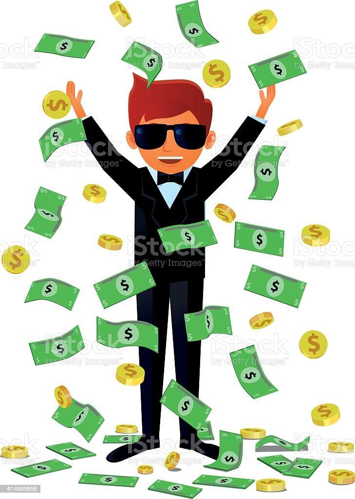 rich man receiving money shower vector 1人のベクターアート素材や