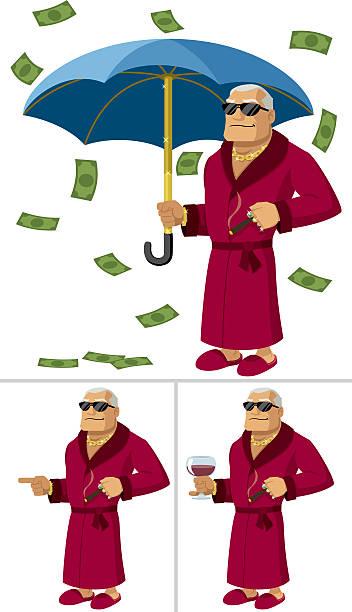rich man - old man sunglasses stock illustrations, clip art, cartoons, & icons