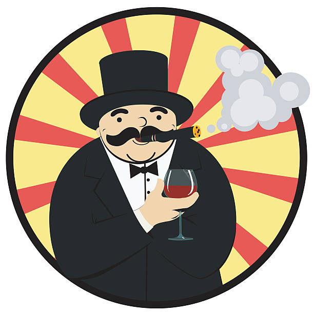 rich man with a glass of wine - old man smoking cigar stock illustrations, clip art, cartoons, & icons