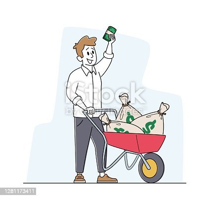 istock Rich Man with Wheelbarrow full of Dollar Sacks. Male Character Richness and Prosperity Concept. Successful Businessman 1281173411
