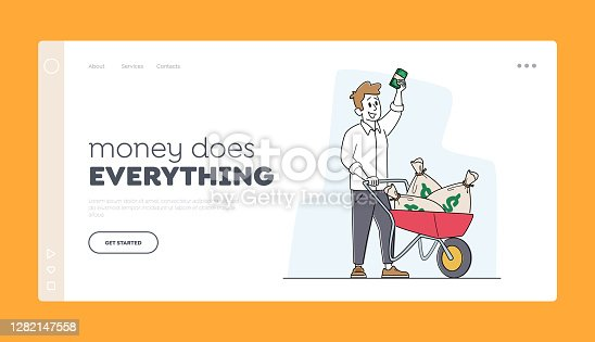 istock Rich Man with Wheelbarrow of Dollar Sacks Landing Page Template. Male Character Richness, Wealth and Prosperity, Money 1282147558
