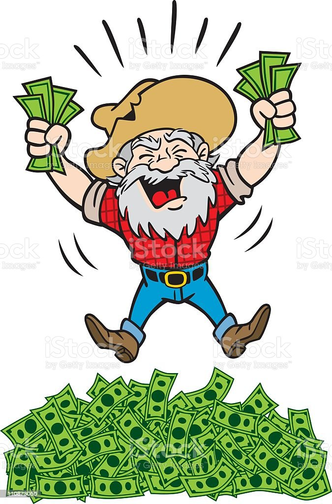 Rich Miner With a Lot of Money royalty-free stock vector art