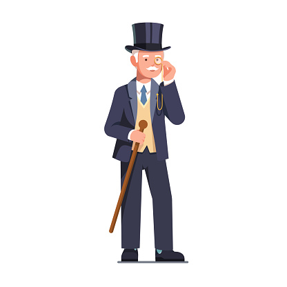 Rich old business man and aristocrat gentleman wearing top hat looking through monocle holding cane vector clipart illustration