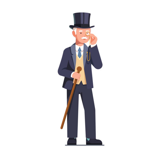 rich old business man and aristocrat gentleman wearing top hat looking through monocle holding cane vector clipart illustration - old man glasses stock illustrations, clip art, cartoons, & icons