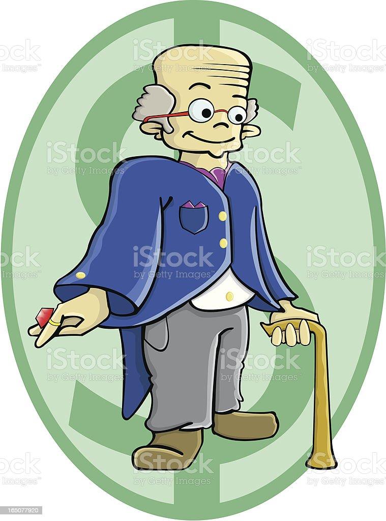 Rich old man vector art illustration