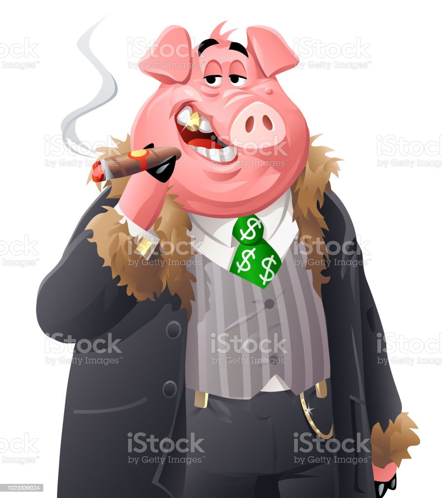 Rich Pig vector art illustration