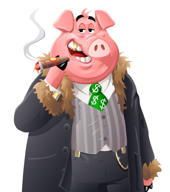 stockillustraties, clipart, cartoons en iconen met rich varken - guy with cigar
