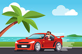 Smiling rich business man driving his car at seashore scenery, looking out side window, showing thumb up gesture. Expensive ride. Successful test drive. Flat style vector illustration