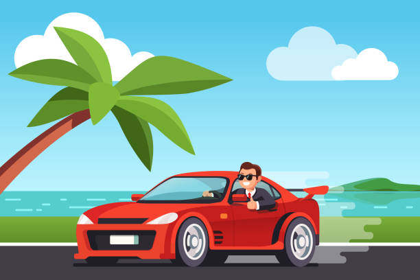 Rich successful business man driving car showing thumbs up gesture at seashore scenery. Flat style vector Smiling rich business man driving his car at seashore scenery, looking out side window, showing thumb up gesture. Expensive ride. Successful test drive. Flat style vector illustration sports car stock illustrations