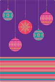 Richly coloured hanging bauble design with a thin stripe border on a purple background - ideal for the holiday season.