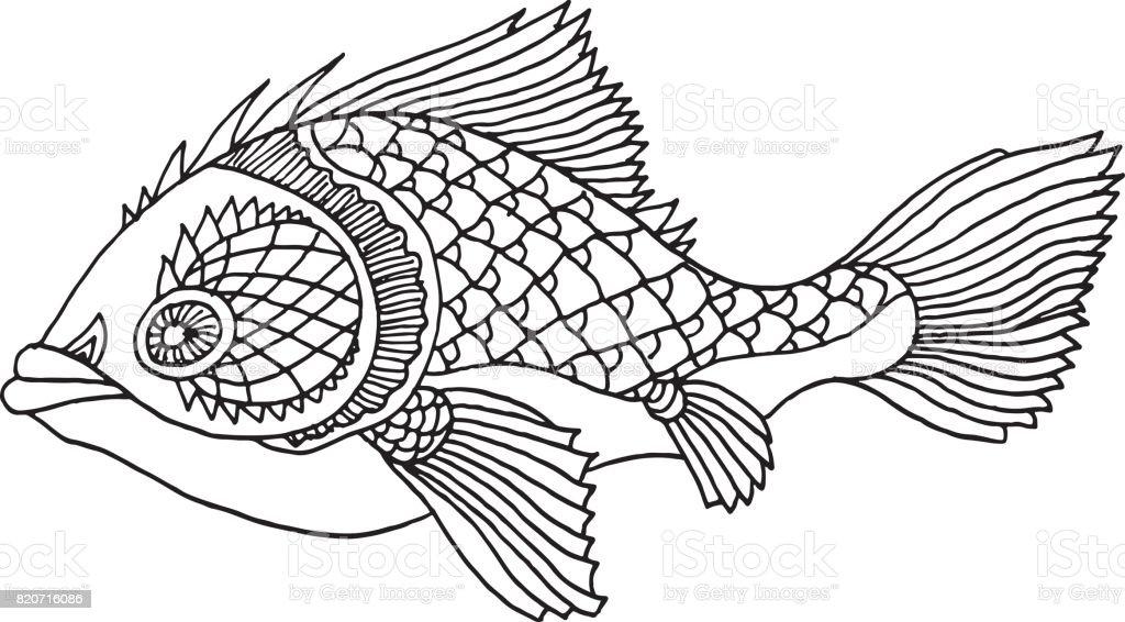 Ilustración de Pescado Ricamente Decorada A Mano Dibujo y más banco ...
