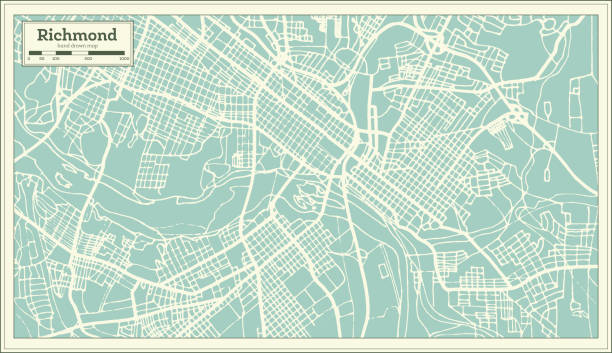 Royalty free usa map on blueprint background clip art vector images richmond virginia usa city map in retro style vector art illustration malvernweather Gallery