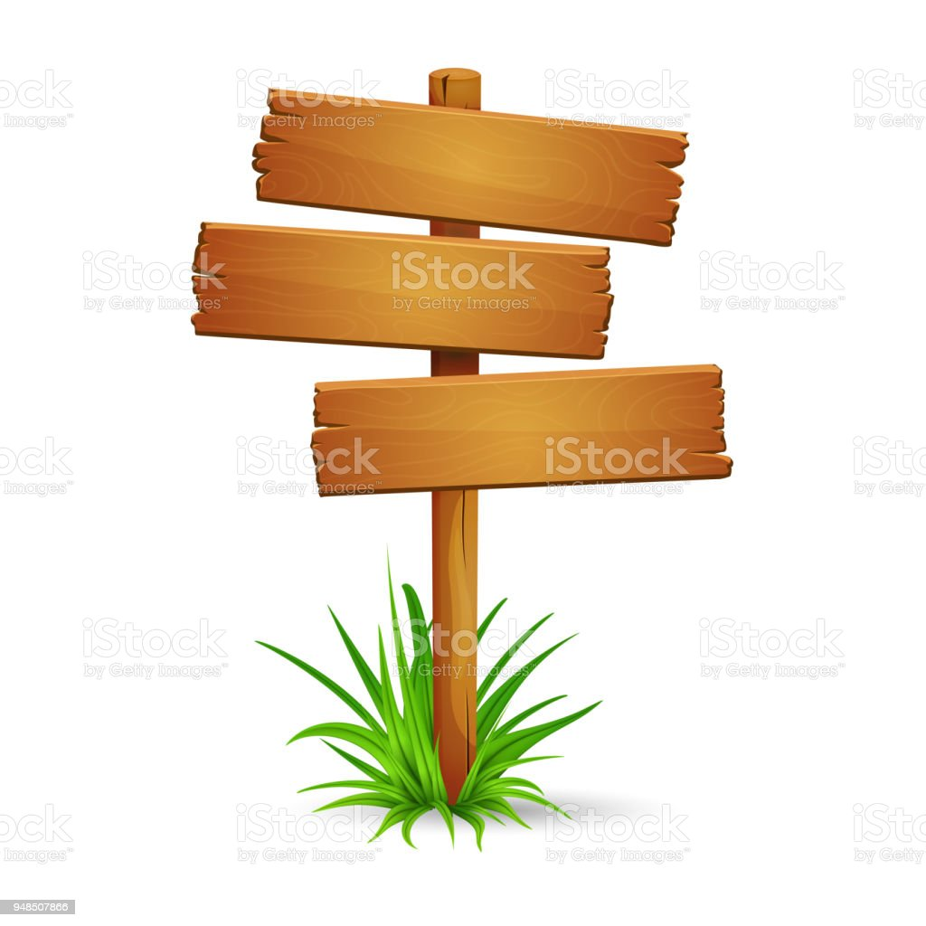 Rickety signpost with grass vector art illustration