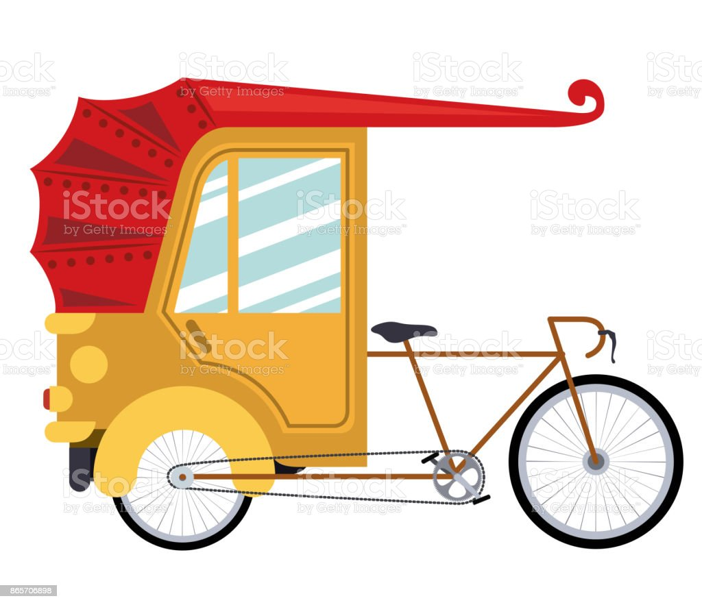 rickshaw india isolated icon design vector art illustration