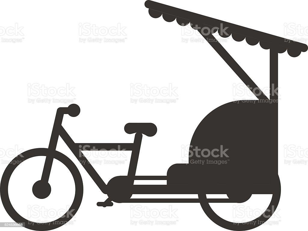 Rickshaw indonesia jakarta taxi travel transportation icon flat vector illustration vector art illustration