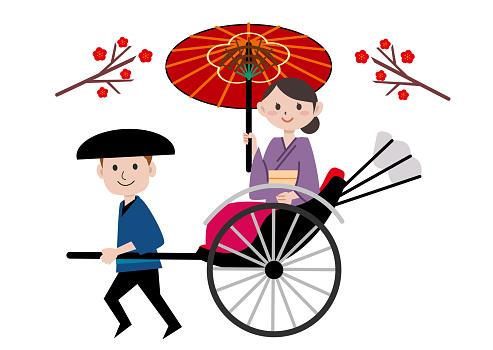 Rickshaw kimono young woman Japan