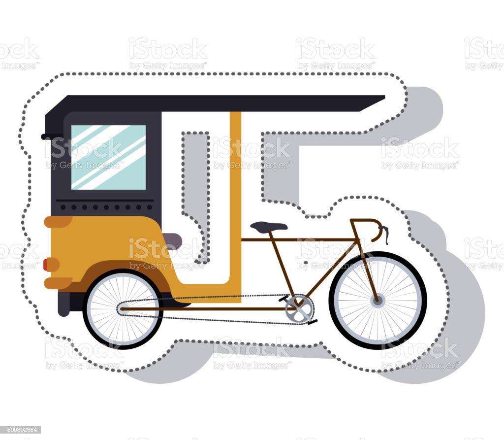 rickshaw service isolated icon vector art illustration
