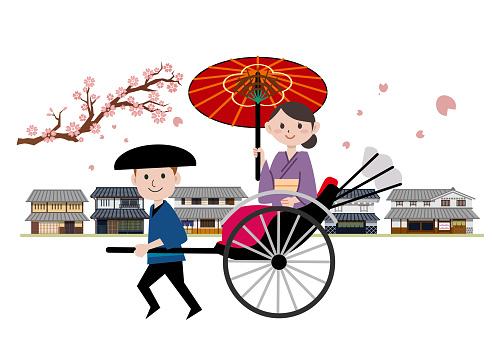 Rickshaw young woman kimono downtown spring cherry blossoms
