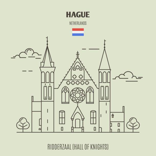 stockillustraties, clipart, cartoons en iconen met de ridderzaal in den haag, nederland. landmark pictogram - den haag