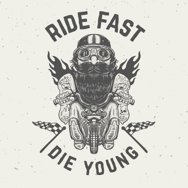 ride fast die young. funny biker character on grunge background. - old man on bike stock illustrations, clip art, cartoons, & icons