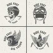 Ride fast die young. Racer helmets, wheel with wings. Design elements for poster, emblem, sign, t shirt. Vector illustration